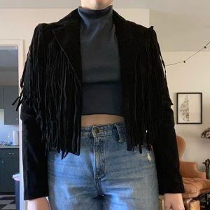 Forever 21 l, faux suede, fringe, cropped jacket